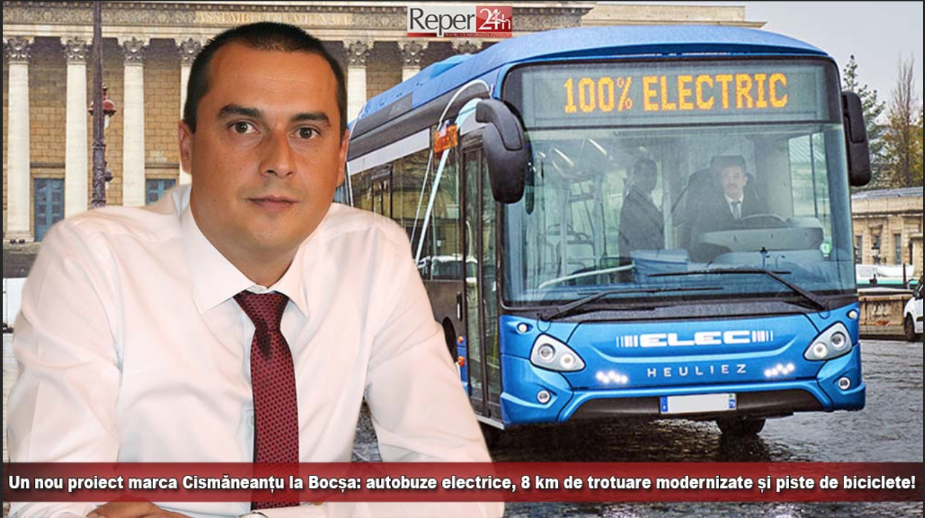 Un nou proiect marca Cismăneanțu la Bocșa: Autobuze electrice, 8 km de trotuare modernizate și piste de biciclete